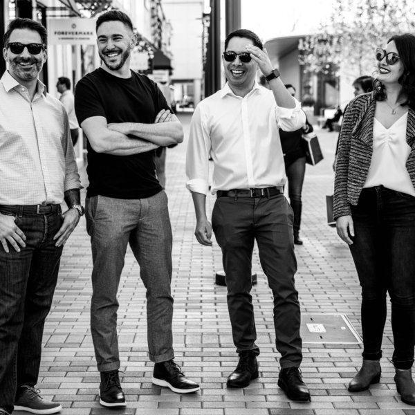 A black and white photo of the Single Origin Founding Team at Broadway Plaza, Walnut Creek California.