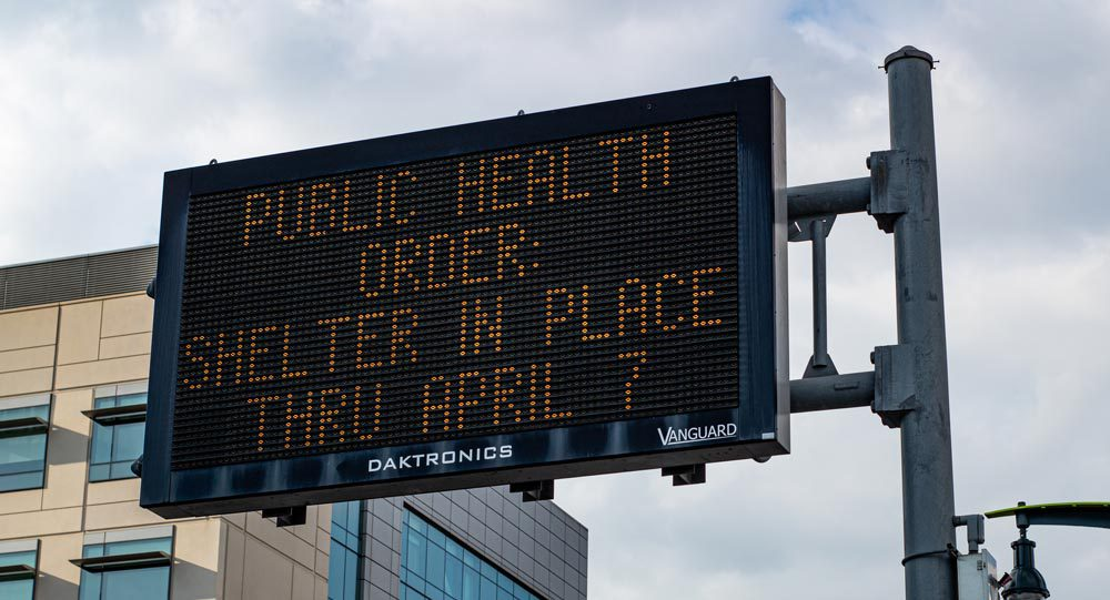 A photo of digital signage in San Francisco during the COVID-19 pandemic, relating to the Single Origin covid-19 social media advertising guides