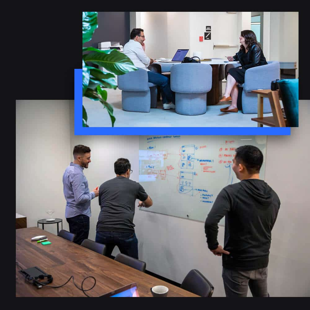 A collage of the Single Origin team building out digital strategy with Ian Douglass, Justin Abbate, Caitlin Phelps and Noel Ledesma in the Single Origin office in downtown Walnut Creek, California.